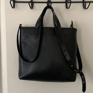Made well black leather zip top transport tote